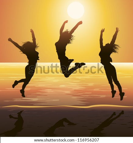Beach Party, Jumping Silhouettes