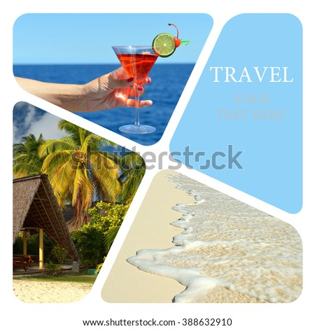 Beach party. Travel collage. Luxury spa resort. Wave of the sea on the sand beach - stock photo