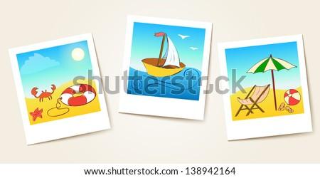 beach photo cards. Raster copy of vector illustration - stock photo