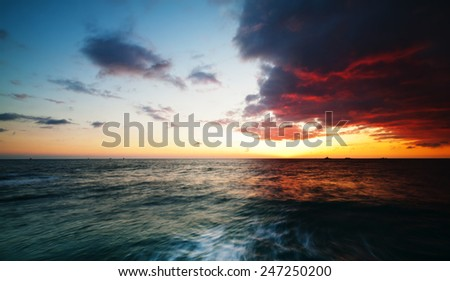 Beach Pier Sunset, seascape - stock photo