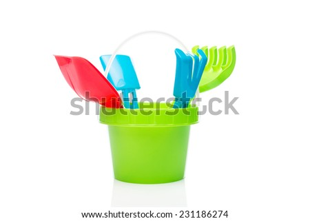 Beach play set against a white background - stock photo