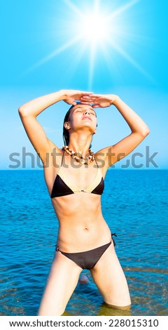 Beach Posing On a Sunny Day  - stock photo