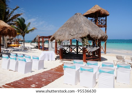 Beach ready for wedding ceremony, Mexico - stock photo