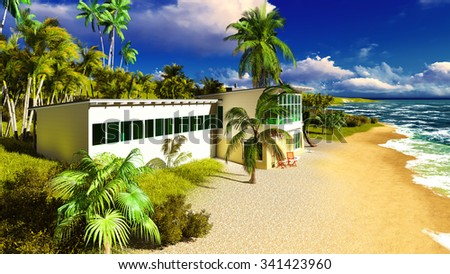Beach resort in the tropical country - stock photo