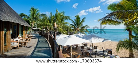 beach resorts in mauritius - stock photo
