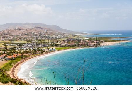 Beach Resorts on St Kitts from Hillside - stock photo
