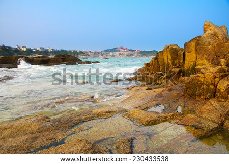 Beach rocks. Meizhou Island in China - stock photo