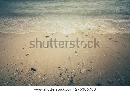 Beach sand and blue sea in Thailand vintage