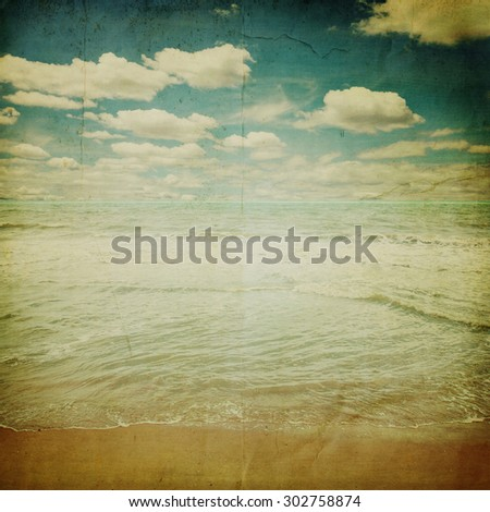 beach sand and sea with retro style