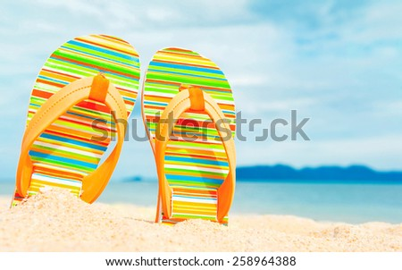 Beach sandals on the sandy sea coast - stock photo