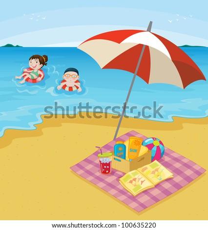 Beach scene. EPS VECTOR format also available in my portfolio. - stock photo