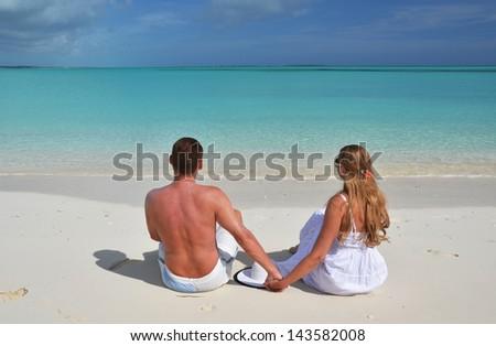 Beach scene. Exuma, Bahamas - stock photo
