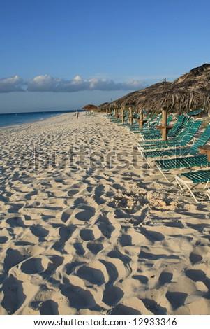 Beach scene in Turks and Caicos - stock photo