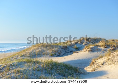 Beach Scene of Sand Dunes in Morning Light - stock photo