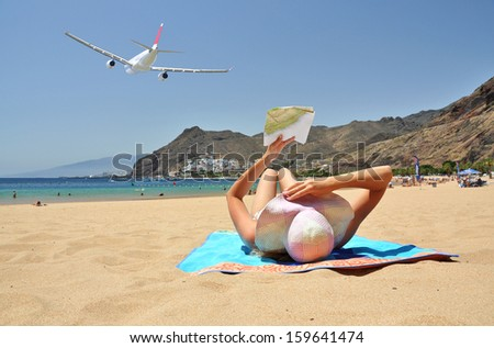 Beach scene. Playa de la Teresitas. Tenerife, Canaries  - stock photo