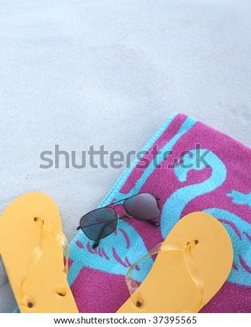Beach scene with copy space - stock photo