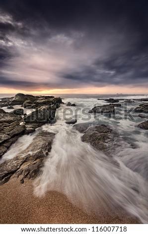 Beach Scene with dramatic mood - stock photo
