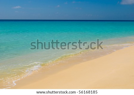 beach, sea and deep blue sky - stock photo