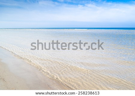 Beach sea view and blue sky, Leba, Baltic Sea, Poland