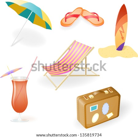 Beach Set From Chaise Lounge, Beach  Umbrella, Beach Footwear, Cocktail, Suitcase and Surfboard - stock photo