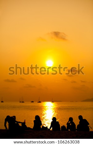 Beach Silhouettes - stock photo