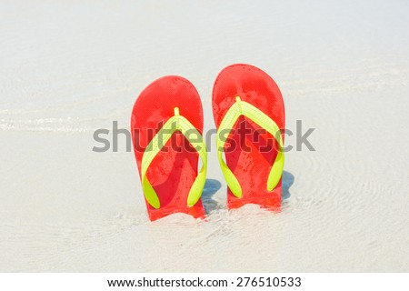 Beach, slippers on tropical beach in holiday at Thailand
