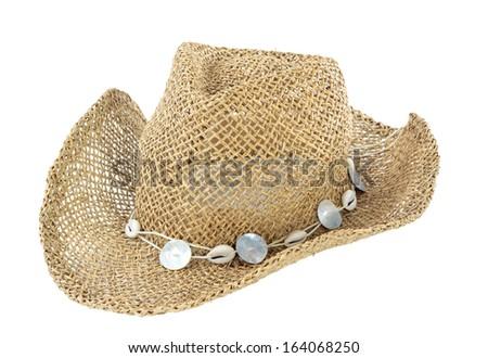 beach straw hat - stock photo