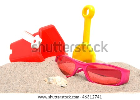 beach stuff on sand over white background