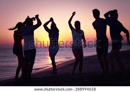 Beach, summer, evening. - stock photo