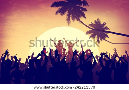Beach Summer Music Concert Outdoors Recreational Pursuit Concept - stock photo