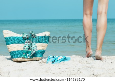 beach summer, relax in the sun - stock photo