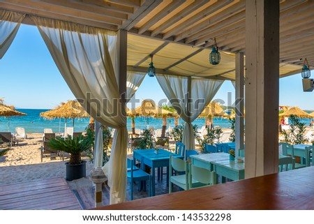 Beach summer restaurant on the Black Sea ,Burgas ,Bulgaria - stock photo
