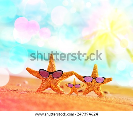 Beach. Summer. Starfish on the seashore. - stock photo