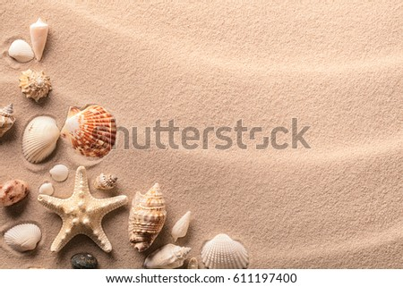 Beach summer vacation background with seashells and starfish.