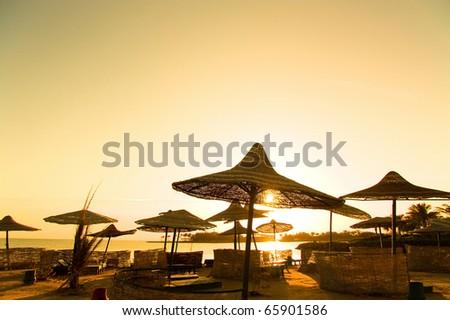 Beach Sunset Paradise - stock photo