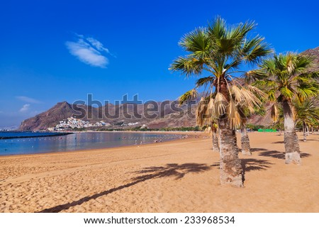 Beach Teresitas in Tenerife - Canary Islands Spain - stock photo