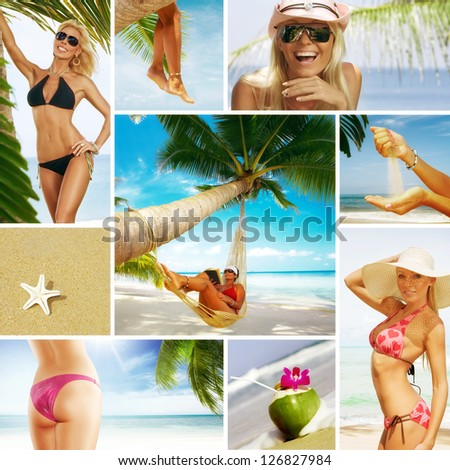 Beach theme collage composed of different images - stock photo
