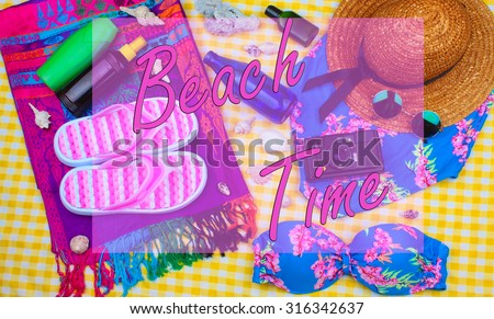 Beach Time Summer Travel Kit featuring slippers, bikini, radio, sun lotion, lotion, hat & camera
