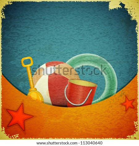 Beach toys on marine background -  ball, shovel, bucket,  lifeline - retro postcard - JPEG version