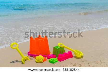 Beach toys on sea beach