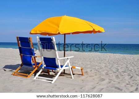 Beach Umbrella and Beach Chairs