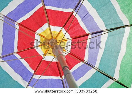 Beach umbrella background - stock photo