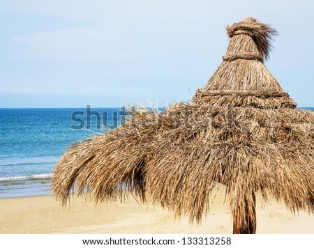 beach umbrella in italy - photo - stock photo