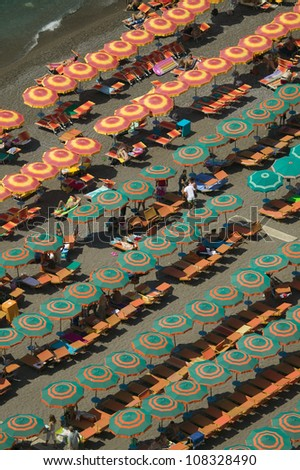 Beach umbrellas of Amalfi, a town in the province of Salerno, Campania, Italy