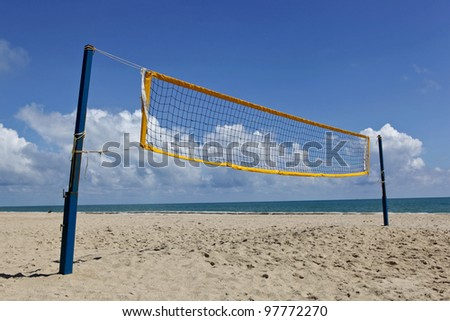 beach volley net with a blue sky - stock photo