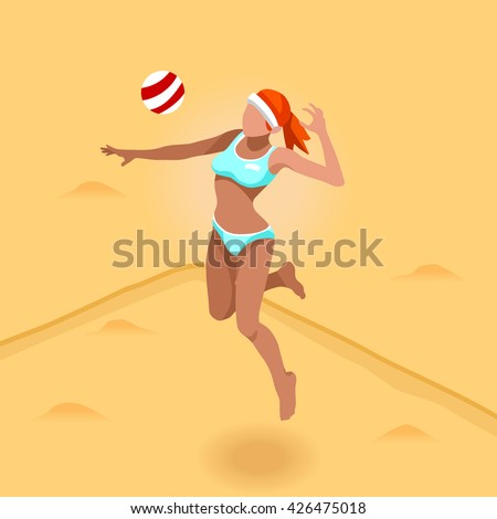 Beach Volley Player 2016 Summer Games Icon Set. 3D Isometric Beach Volleyball. Sporting Championship International Beach Volley Match Competition. Sport Infographic olympics Volley Illustration - stock photo