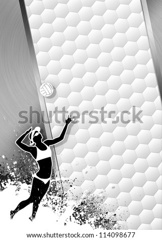 Beach volleybal grayscale poster: ball and people background with space