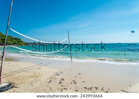 Beach volleyball court in island of Thailand - stock photo