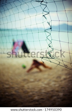 Beach volleyball in tropical island - stock photo