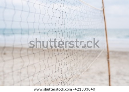 beach volleyball net close-up - Selective focus - stock photo